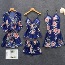 Sexy Lace Spliced Sling Top + Shorts + Sling Dress + Robe Nightwear Four-piece Set (No Elastic)
