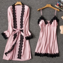 Sexy Lace Spliced Sling Dress + Robe Nightwear Two-piece Set