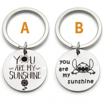 Chic Style Letters Engraved Circle Pendant Key Chain