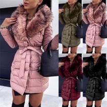 Fashion Faux Fur Collar Long Sleeve Slim Fit Padded Coat