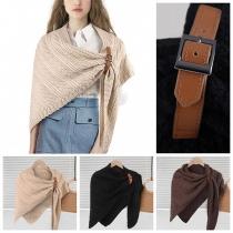 Fashion Solid Color Knit Shawl Cloak