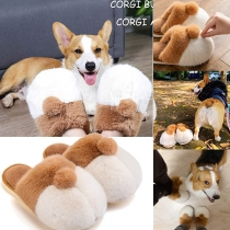 Cute Style Contrast Color Corgi Shoes Plush Slippers