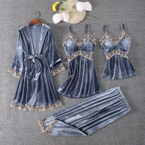 Sexy Lace Spliced Sling Top + Sling Dress + Pants + Robe Nightwear Four-piece Set