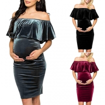 Sexy Off-shoulder Ruffle Boat Neck Solid Color Maternity Dress