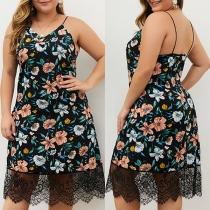 Sexy Backless V-neck Lace Spliced Hem Plus-size Printed Sling Dress