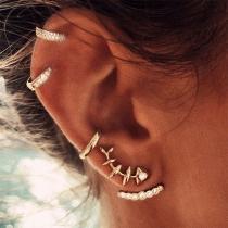 Fashion Rhinestone Inlaid Stud Earring Set 4 pcs/Set