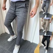 Simple Style Solid Color Middle Waist Man's Pants