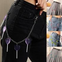 Punk Style Heart Lollipop Pendant Waist Chain