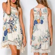 Bohemian Style Sleeveless Round Neck Lace Spliced Printed Dress