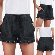 Fashion Solid Color Elastic Waist Tassel Hem Shorts