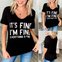 Fashion Letters printed Short Sleeve Round Neck T-shirt