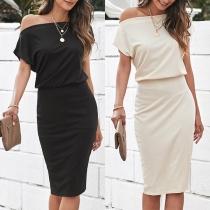 Sexy Off-shoulder Short Sleeve Solid Color Slim Fit Dress