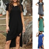 Fashion Solid Color Short Sleeve Round Neck Slit High-low Hem Dress