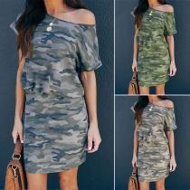 Fashion Camouflage Printed Short Sleeve Round Neck Slim Fit Dress