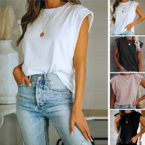 Fashion Solid Color Sleeveless Round Neck Loose T-shirt