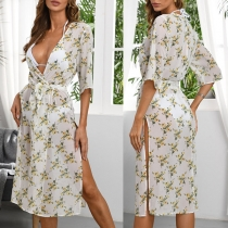 Sexy V-neck Slit Hem Half Sleeve Printed Beach Dress