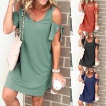 Sexy Off-shoulder Short Sleeve V-neck Solid Color Dress