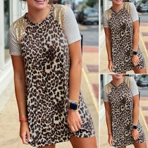 Fashion Short Sleeve Round Neck Leopard Printed T-shirt Dress