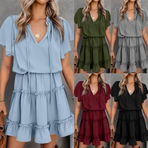 Fashion Solid Color V-neck Lotus Sleeve Ruffle Hem Dress