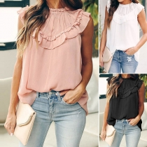 Fashion Solid Color Sleeveless Round Neck Ruffle Loose Top