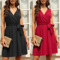 Fashion Solid Color Sleeveless V-neck Dress