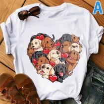 Cute Cartoon Animal Printed Short Sleeve Round Neck T-shirt