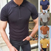 Simple Style Short Sleeve POLO Collar Solid Color Man's Knit Top