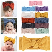 Sweet Style Solid Color Bow-knot Elastic Headband for Babies 2 piece/set