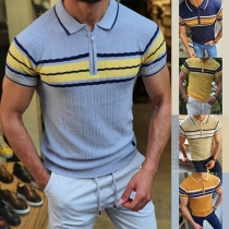 Fashion Contrast Color Short Sleeve POLO Collar Man's Knit Top