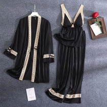 Sexy Lace Spliced Sling Top + Pants + Robe Nightwear Set