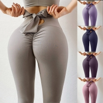 Fashion Solid Color Bow-knot High Waist Stretch Leggings