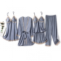 Sexy Solid Color Lace Spliced Nightwear Home-wear Set Five-piece Set