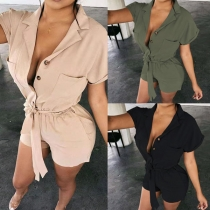 OL Style Short Sleeve Notched Lapel High Waist Solid Color Romper (No elastic, size runs small)