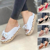 Fashion Contrast Color Thick Heel Open Toe Slippers