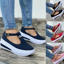 Casual Style Contrast Color Thick Heel Round Toe Loafers Shoes