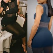 Sexy One-shoulder Sleeveless Crop Top + Skirt + Gauze Dress Three-piece Set
