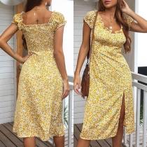 Fresh Style Short Sleeve Square Collar Slit Hem Slim Fit Printed Dress