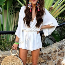 Sexy V-neck High Waist Trumpet Sleeve Solid Color Romper