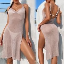 Sexy Backless V-neck Slit Hem Solid Color Sling Knit Beach Smock Dress