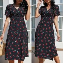 Sexy V-neck Short Sleeve High Waist Cherry Printed Dress