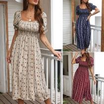 Sweet Style Puff Sleeve Square Collar High Waist Slit Hem Printed Dress