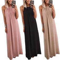 Sexy Off-shoulder Solid Color Loose Halter Sling Maxi Dress