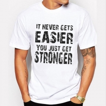 It Never Gets Easer You Just Get Stronger-Men's Black Printed Shirt
