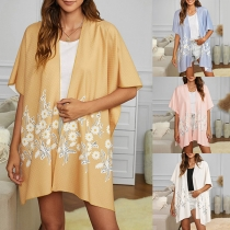Chic Style Short Sleeve Daisy Embroidered Loose Cardigan