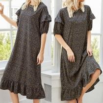 Sweet Style Short Sleeve Round Neck Ruffle Hem Loose Printed Dress