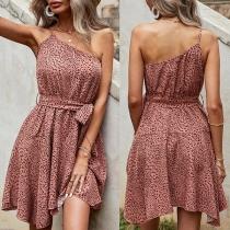 Sexy One-shoulder Irregular Hem Leopard Printed Sling Dress