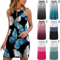 Sexy Off-shoulder Contrast Color Printed Halter Dress