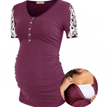 Fashion Lace Spliced Short Sleeve Round Neck Maternity T-shirt