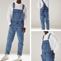 Casual Style High Waist Relaxed-fit Mans Denim Overalls