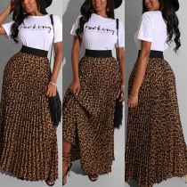 Fashion Letters Printed Short Sleeve T-shirt + Leopard Skirt Two-piece Set